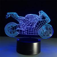 ingrosso lampada da tavolo 12v-Creativo tira il vento Moto 3D Illusione ottica Touch Botton 7 Cambia colore LED Night Light Desk Lamp 15 tasti di controllo remoto