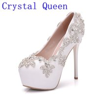 Wholesale Bling Rhinestone Shoes - Crystal Queen White Crystal Women High Heels Shoes Rhinestones Diamond Bling Wedding Shoes Bridal Party Dress Shoes Woman Pumps