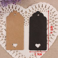 Wholesale Wholesale Cardboard Gift Tags - Wholesale- 4*9cm 100Pcs  Lot Stock Skeleton Heart Cardboard Blank Price Hang Tag DIY Kraft Paper Tag Wedding Party Favour Supply Gift Cards