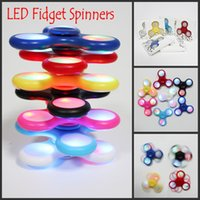 Wholesale Spinning Flashing Toys - Hand Spinners Fidget Spinner EDC LED Flash Light With Push Switch Luminous Triangle Finger Spinning Decompression Fingers Anxiety Toys DHL