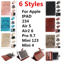 Wholesale China Tablet Pc 3d - For Apple ipad 234 Air5 Air2-6 pro9.7 mini123 mini4 Panda embossed 3D Tablet PC Cases & Bags protector embossing standing wallet cardholder