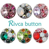 Wholesale Fishing Hooks Box Set - D00385 Rivca Snap Button charms Jewelry High quality crystal 18mm Metal Noosa chunk Rhinestone Styles Ginger Snaps Bracelets For Women