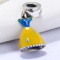 Wholesale Dress Shape Charm - Wholesale 925 Sterling Silver Not Plated Enamel Dress Shape Pendant Charm European Charms Beads Fit Pandora Snake Chain Bracelet DIY Jewelry