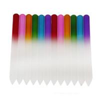 tırnak yemi araçları toptan satış-Renkli Cam Tırnak Dosyaları Dayanıklı Kristal Dosya Tırnak Tampon NailCare Manikür UV Lehçe Aracı Nail Art Aracı 500 adet 0603022