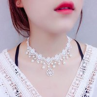 Gargantilha Colares Delicado White Lace Pearl Tassel Necklace For Women 3 Styles Statement Chokers Necklace Wedding Jewelry