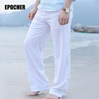Wholesale Linen Pants Wholesale - Wholesale- 2017 Men's Summer Casual Pants Natural Cotton Linen Trousers White Linen Elastic Waist Straight Pants 2P7