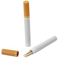 Wholesale Stash Holder - Wholesale-Cigarette Shaped Toothpick Holder Tooth Pick Dispenser Creative Safe Secret Stash Diversion Pill Box Case Home Table Organizer