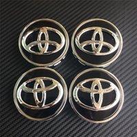 Wholesale Wholesale Chrome Center Caps - 4pcs 63mm chrome black wheel center caps hub cover car badges emblemn for toyota COROLLA RAV4 LEVIN
