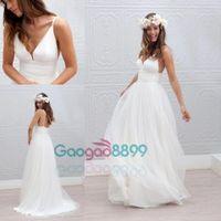 Wholesale Samples Neck Beads - Marie laporte Sample Sexy Spaghetti Beach Wedding Dresses 2017 cheap bohemian Deep V-neck Backless Long Cheap Bridal Wedding Gown