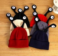 Wholesale Baby Hats Eyes - Children baby Cartoon Hat Unisex girl boy Winter warm Knitted Woolen Big Eyes Tentacles Caps Children Insect Beanie colorful