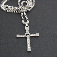film strass achat en gros de-Fashion Men Cross Rhinestone Collier Cool Fast and Furious Movie Pendentif Colliers Alliage Silver Plated Short Chain Short For Boyfriend