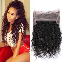 Wholesale Hair Pieces For Babies - 360 Lace Frontal Closure Water Wave Brazilian Virgin Hair Lace Frontals Baby Hair Piece for Black Women 22.5*4*2 Customized Lace Frontal