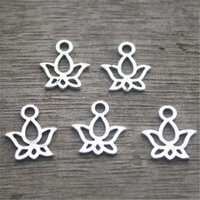 Wholesale Mini Lotus - 40pcs-Lotus Flower Charms Antique Tibetan Silver Tone Mini Lotus charm pendants 13X11mm