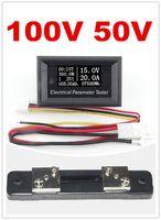 Wholesale Dual Resistor - new 7in1 dual range 100v 50A electrical meter Time capacity voltmeter Ammeter + 50A 75mv Shunt Resistor