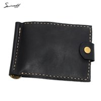 Wholesale Vintage Money Clips - Customized Name Purse Genuine Leather Handmade Men Money clips high quality Vegetable Leather Wallet vintage men wallet with Metal Clamp