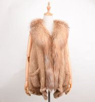 Wholesale Knitted Mink Vest Women - Real Mink Fur Vest fox fur collar Autumn-Winter Women Shawl Fashion Mink Luxury Winter Women's Fur short Poncho