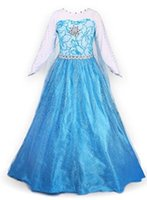Wholesale Hot Dresses For Cosplay - hot princess new frozen elsa costume for children movie cosplay frozen dresses snow princess costume dress to the floor summer frozen elsa