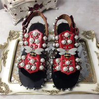 Wholesale Pearl Covered Shoes - New Brand Black Soft Leather Beading Embellished Punk Women Sandals Pearl Studded Hook & Loop Gladiator Sandals Women Party Shoes Woman