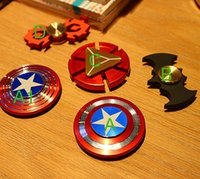 Wholesale America Pack - new Captain America Shield Iron man metal alloy Hand Spinner Puzzle EDC Desk Focus Toy Fidget with retail packing..