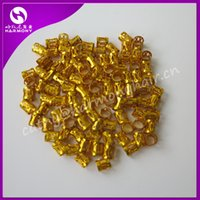 Wholesale Clip Beads For Hair - Wholesale-Free shipping 100pcs Gold metal tube ring dreadlock beads for braids hair beads for dreadlocks adjustable hair braid cuff clips