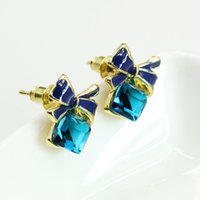 Wholesale 14k Gold Jade Earrings - Hot Selling Fashion Chic Shimmer Gold Bow Blue Cubic Crystal Earrings Rhinestone Anti Allergy Stud Earrings For Women Jewelry