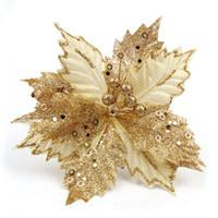 gran adorno de navidad al por mayor-Glitter Big Christmas Flower 8.6 pulgadas Poinsettia falso flor del árbol de navidad 22cm decoración del banquete de boda ornamento