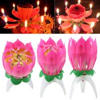 Wholesale 1Pc Magic Musical Lotus Flower Flame Candles Happy Birthday Cake Party Lamp Surprise Gift Lights Rotation Decoration Open Lotus