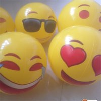 """Wholesale family swimming pools - Beach Ball Inflatable PVC Emoji Ball For Adults Kids 12"""" Family Holiday Summer Party Favors Swimming Pool Toys Free Shipping 20pcs"""