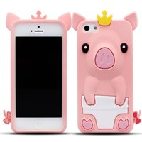 Wholesale Princess Pig - Cute Princess Crown Pig in Nappy 3D Case Cover Back Silicone for iPhone 5 5s 5C iPhone SE Case pink