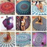 Wholesale Knit Tablecloth - 35 style Mandala Chiffon Round Beach Towel Throw Tapestry Hippy Boho Gypsy Tablecloth Bath Towel New Bohemian Wind Square Beach Towel b680