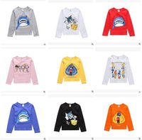Wholesale Organic Baby T Shirts Wholesale - Kids Spring FALL Brand Cartoon Long Sleeve T-shirts for Baby Boys and Girls Clothes Animal Shark Little Girl Princess Costumes Free Shipping