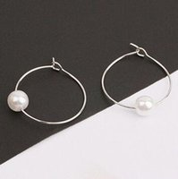 Wholesale A variety of geometric shape female temperament earrings fashion pearl ear hook anti allergic jewelry