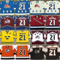 Wholesale Peter Forsberg - Custom Retro 21 Peter Forsberg Jersey Colorado Avalanche 1996 2001 2002 2010 Philadelphia Flyers 2006 Quebec Nordiques 1994 CCM