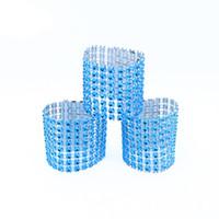 hebillas de anillos al por mayor-Al por mayor-Al por mayor 100 Unids / lote Color azul de plástico Rhinestone Wrap Napkin Ring Servilletas Hotel Home Wedding Supplies Silla Decoración