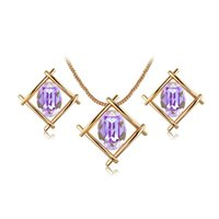 Wholesale Rose Gold Pendant Light - 18K Rose Gold Plated Pendant Necklace Earring Studs with Purple Crystals Hollow Square Simple Geometric Style Elegant Jewelry Set