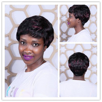 Natural Wave Short Wig Under $30 Hot Sell 25cm Heat Resistant Puffy Curly African American Short Wigs For Older Women Synthetic Black Red Highlights On Hair