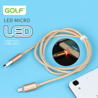 Wholesale Usb Golf - Original Golf LED light Metal USB Braid Data Charge Cable Micro Charging Cord For Android Phone Samsung Fast Charger Cyberstore