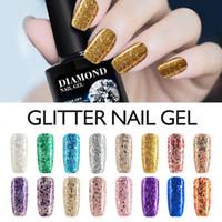 Wholesale Uv Color Varnish - Wholesale-Modelones 10ML 3D Diamond Glitter Nail Varnish Long Lasting Gel Polish UV LED Nail Gel Polish Soak-off Glod Color Nail Lacquers