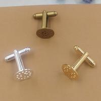круглые запонки из золота оптовых-12 мм круглый кабошон лоток медь серебро / золото / античная бронза покрытием запонки заготовки базовая установка для ювелирных изделий задатки 30 шт. cy1452