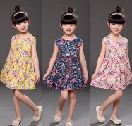 Wholesale Cheap Little Girls Clothing - 2017 New Arrival Sweet Flower Printed Girls Dresses Hot Summer Sleeveless Cheap 5 Colors Cotton Little Girls Clothing MC0678