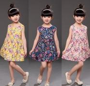 Wholesale 2017 New Arrival Sweet Flower Printed Girls Dresses Hot Summer Sleeveless Cheap Colors Cotton Little Girls Clothing MC0678