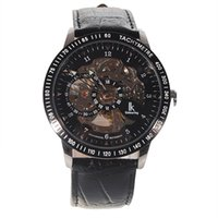 Wholesale Hour Hand Men - Best Selling Winner Brand Male Skeleton Hours Man Men Full Steel Mechanical Hand Wind Watches Watch Leather Band Christmas Gift