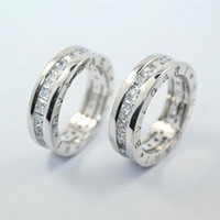 Wholesale stones for wedding - Luxury Brand original 925 Silver Pricness Cut CZ Letter Ring for Women Wedding