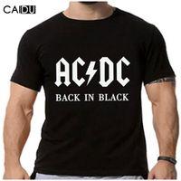 Wholesale White Dc Shirts - Wholesale- 2016 New Camisetas AC DC band rock T Shirt Mens acdc Graphic T-shirts Print Casual Tshirt Plus Size O Neck Hip Hop Short Sleeve