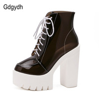 Wholesale Good Quality Rain Boots - Wholesale- Fashion Summer Boots Women Sandals Thick Heels Waterproof Transparent Paltform Shoes High Heels PVC Rain Boots Good Quality