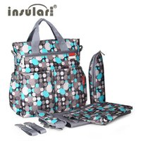Wholesale Mom Bag Set - Wholesale-Insular Baby Diaper Bags 5PCS Set Fashion Multifunctional Print Tote Durable Nappy Bag Mummy Baby Bag for mom Stroller Belt