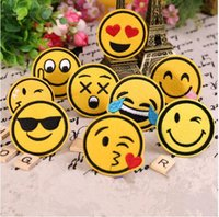 Wholesale Cartoon Motifs - 6cm Diy Embroidered Emoji Patches Lot Kids Cartoon Motif Patch Smile Face Iron On Applique For Cloth Stickers Hot Sale
