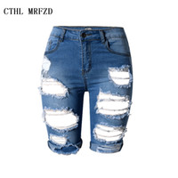 Wholesale Denim Cut Off - Wholesale- S-XXXL 2016 Summer New Slim Skinny Ripped Hole Burrs Cut Off High Waist Knee Length Women Denim Hot Shorts Jeans Plus Size