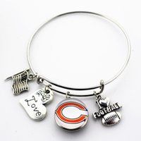 Wholesale Expandable Rings - The European and American fashion newest Adjustable Expandable Bangle Bracelets USA Football Ginger Snap Button Jewelry 10pcs lot