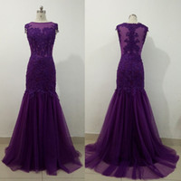 2017 Dark Purple Mutter Der Braut Kleider Meerjungfrau Tüll Appliques Lace Sheer Illusion Mode Hochzeitsgäste Abendgesellschaft Kleider
